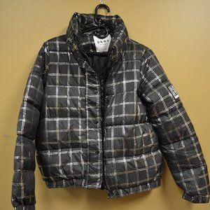 DKNY Metallic Plaid Puffer Jacket - S